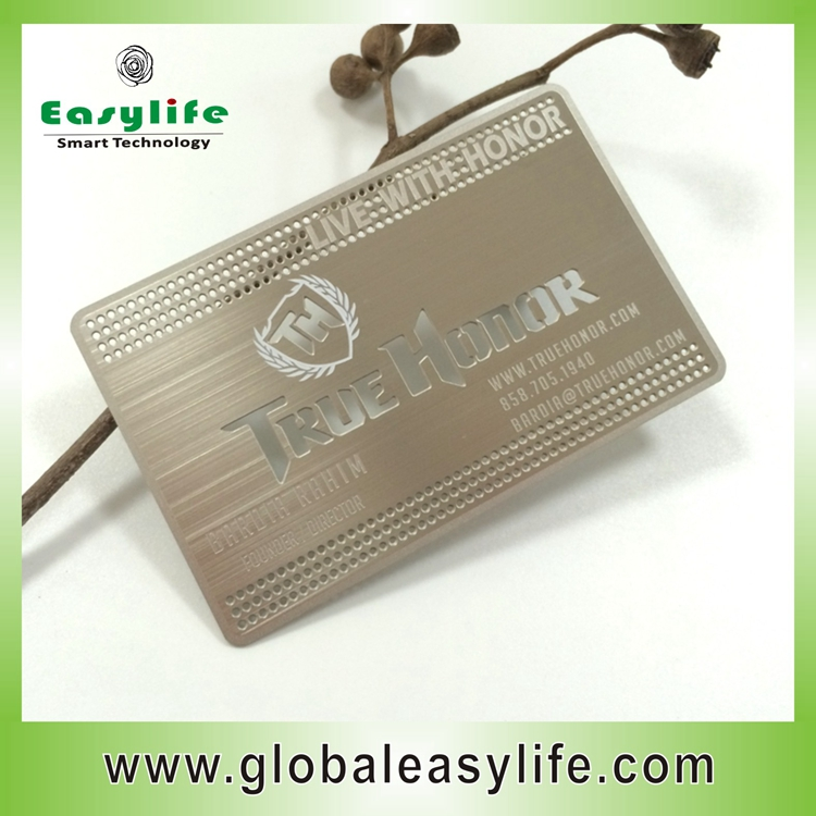 <strong>Logo</strong> etched stainless steel metal business cards