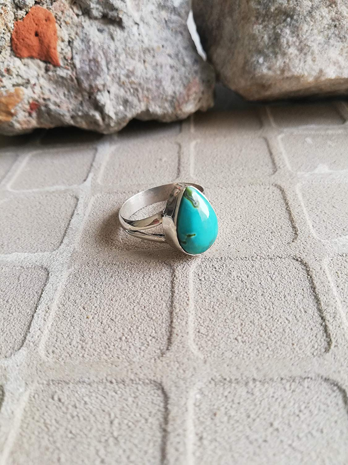 Natural Turquoise Ring, 925 Sterling Silver, Teardrop Shape Ring, Green Jewelry, Boho Ring, Anniversary Ring, Birthstone Ring, Handmade Jewelry, Minimalist Ring, Stacking Ring, Gift, US All Size Ring