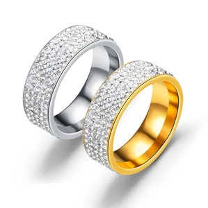 Whosale Stainless Steel Diamond Ring With Five Rows Of Diamond Gole Plated Ring