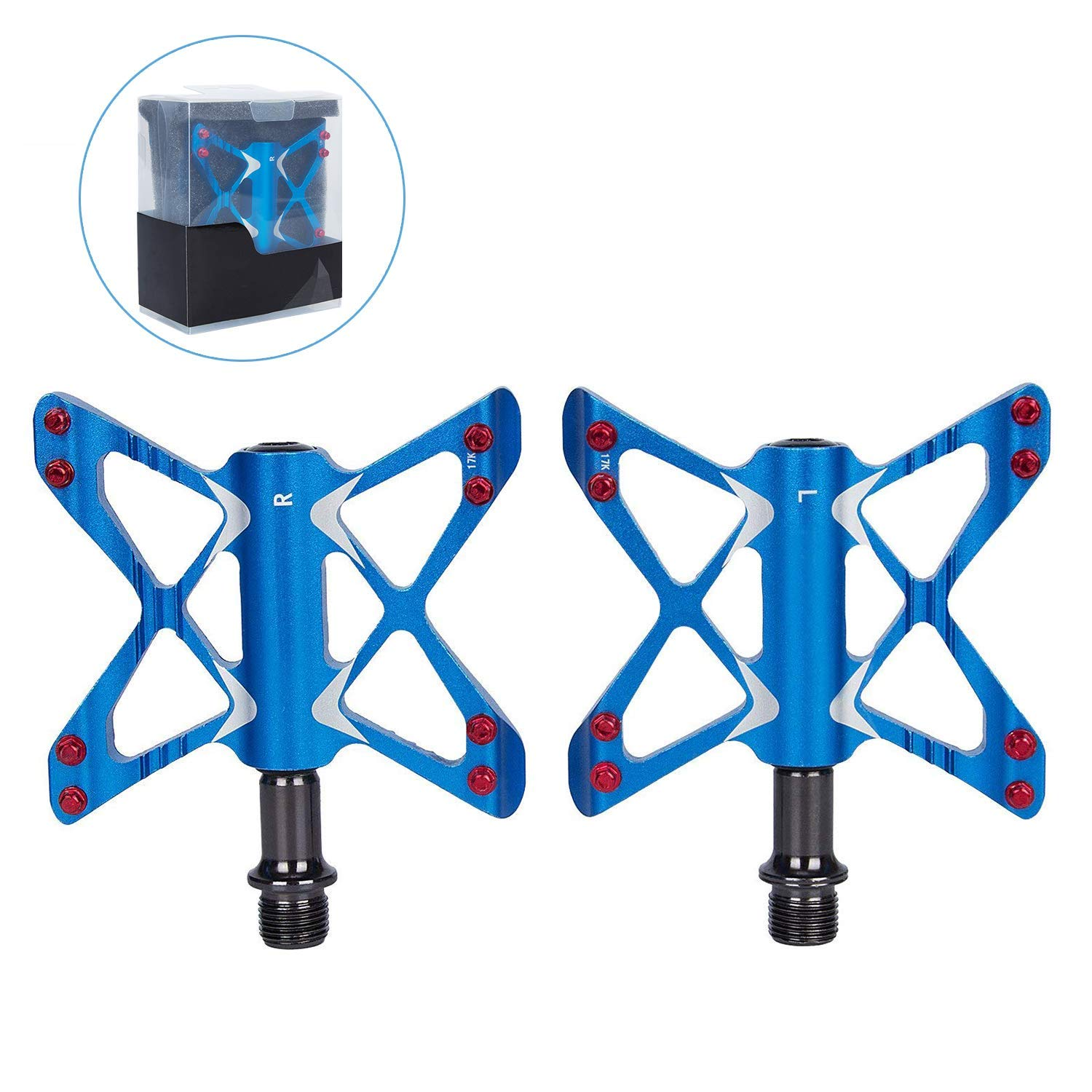 Hakkin Lightweight Bike Pedals,Mountain Bike Pedaling Easy Climbing with 16 Anti-skid Pins Aluminum Alloy Steel Flat-Platform,for Road & Folding Bikes, Urban Leisure Bicycles, Trail Bikes