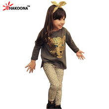 Retail 2015 New girls clothing sets,full sleeve T shirt+legging 2pc set,3 color,baby clothing,kids clothes,cotton,Free Shipping