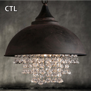 American style loft retro vintage chains hanging lamp cheap crystal chandelier pendant light