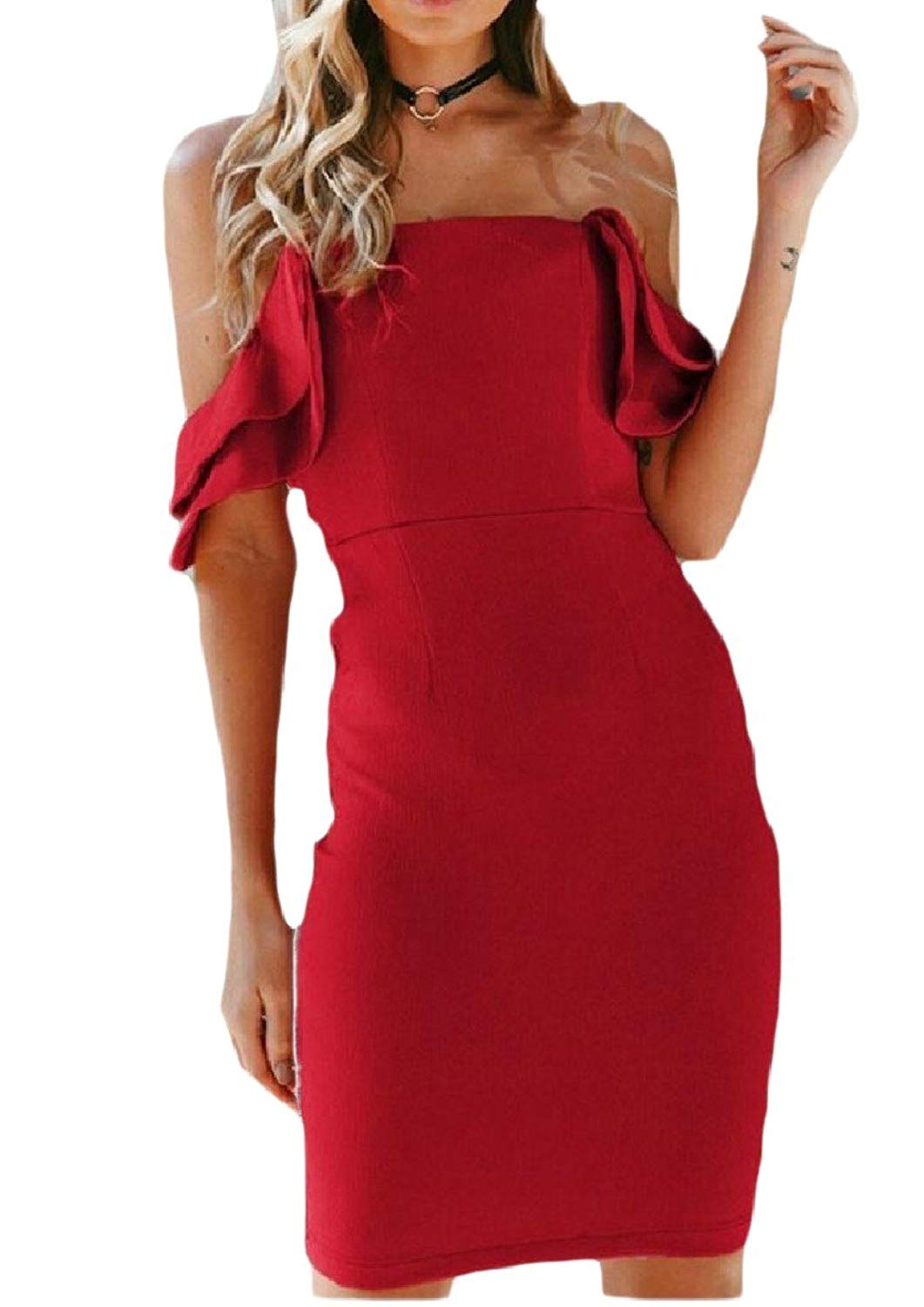 Zimaes-Women Sexy Off-Shoulder Open Back Solid Color Ruffle Package Hip Dress