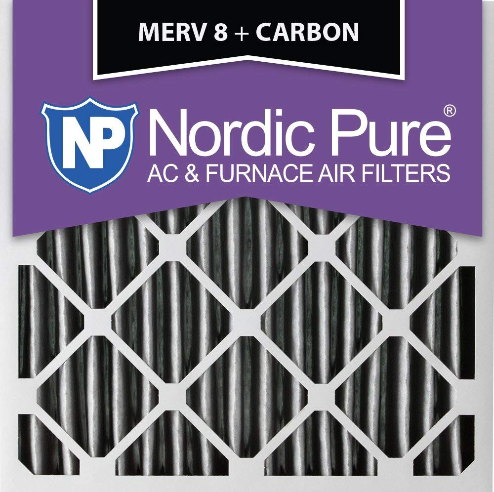 Nordic Pure 20x20x4 (3-5/8 Actual Depth) Pleated MERV 8 Plus Carbon AC Furnace Air Filter, Box of 1