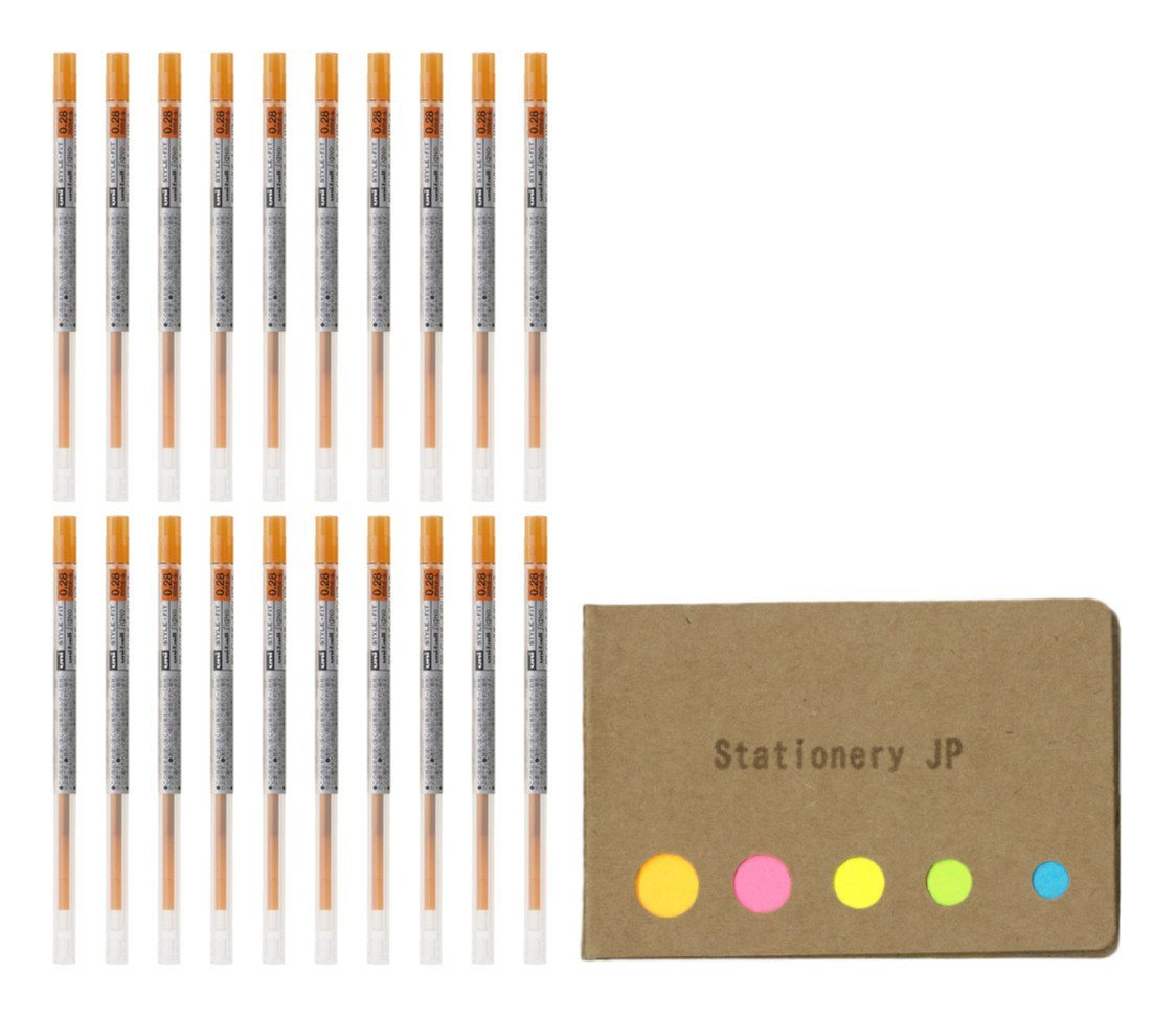 Uni-ball Signo Gel Ink Refills for Uni Style Fit Gel Multi Pen 0.28mm Orange Ink, 20-pack, Sticky Notes Value Set