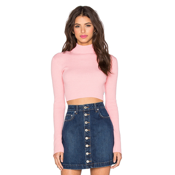 0968c19703 Pink short sweater ribbed knit turtleneck cropped sweater with zipper  sleeves