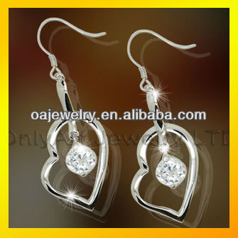 costume fashion jewelry hot selling and non-allergenic 925 sterling silver earring