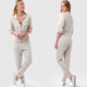 Natrual White 100% Linen Long Sleeve Front Long Zip-up Long Fitted Women Linen Jumpsuits