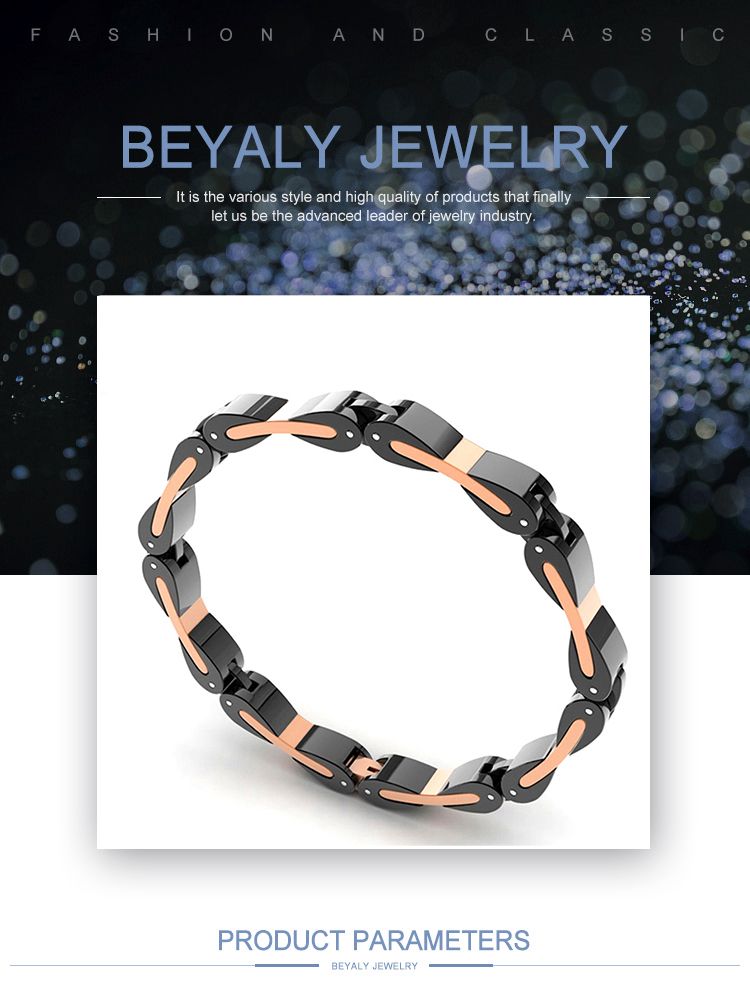 High quality rose gold and black 3161 stainless steel jewelry