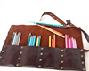 Free Personalization Leather Pencil Roll/Leather MakeupToll Roll Fashion Stationary Leather Pencil Case