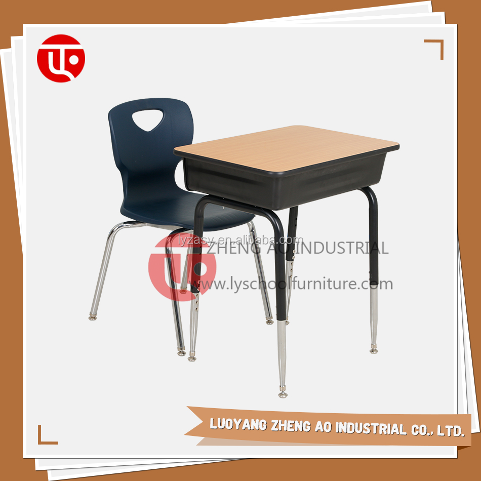 Cheap school furniture Adjustable single plastic school desk and chair