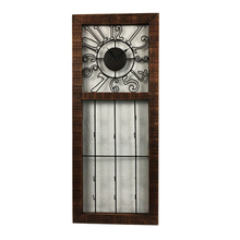 Antique square wooden frame decorawtive metall wall decor clock