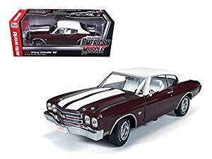 1970 Chevrolet Chevelle SS 454 Black Cherry Limited to 1500pc Worldwide 1/18 Car Model by Autoworld