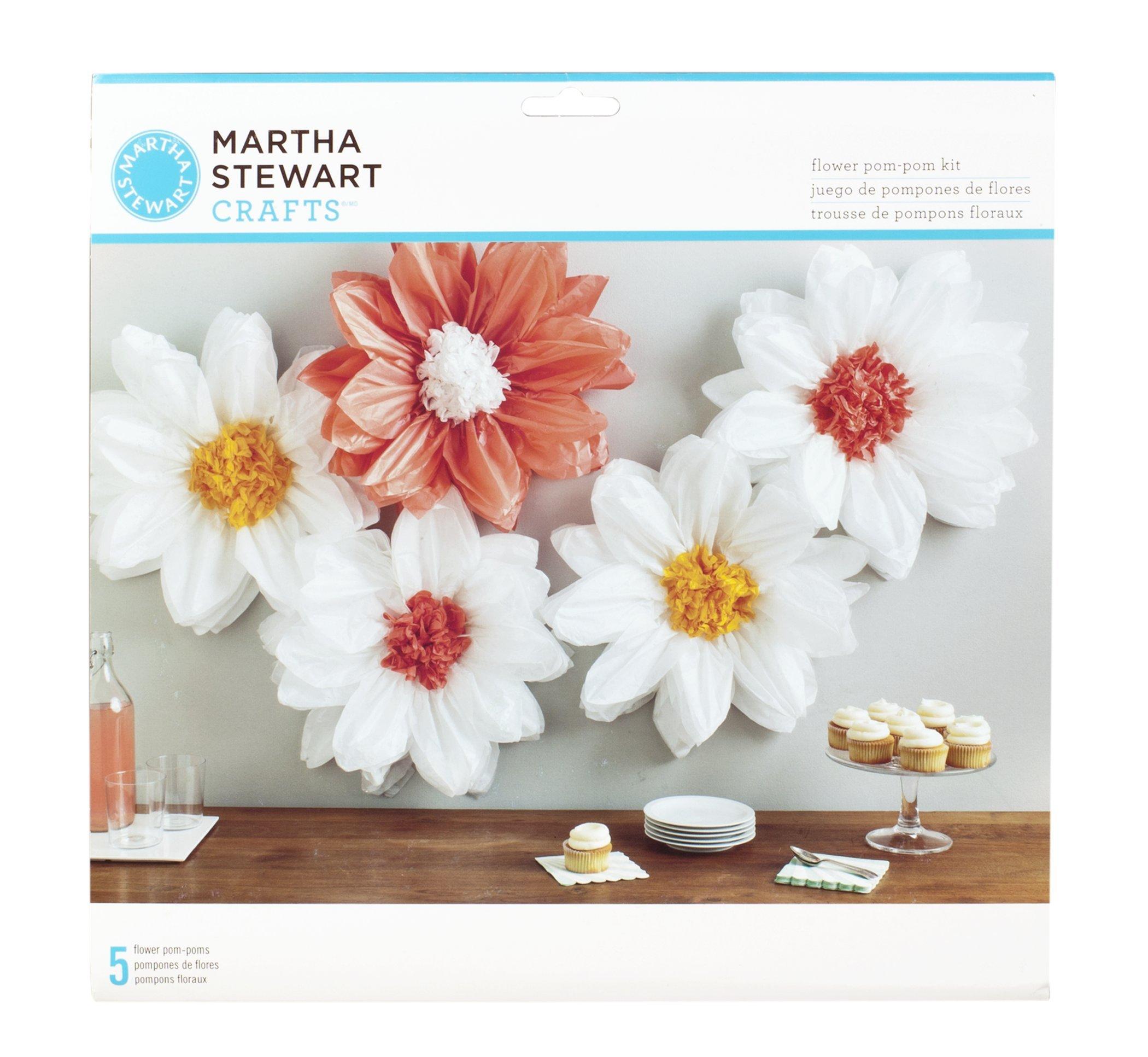 Martha Stewart Crafts 44-10219 Tissue Pom-Pom Kit, Peach and Pearl Daisies, White