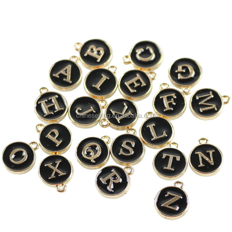black epoxy metal letter tags, round disc initial letter charm, personalized alphabet metal charm DIY jewelry accessories
