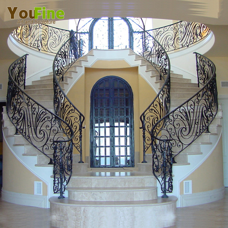 Decorative Modern House Wrought Iron Railing Parts For