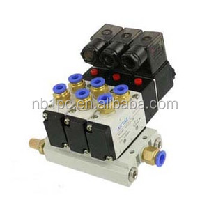 Triple Solenoid Valve 4V210-08 DC 24V 2 Position Base Muffler Quick Fittings Set