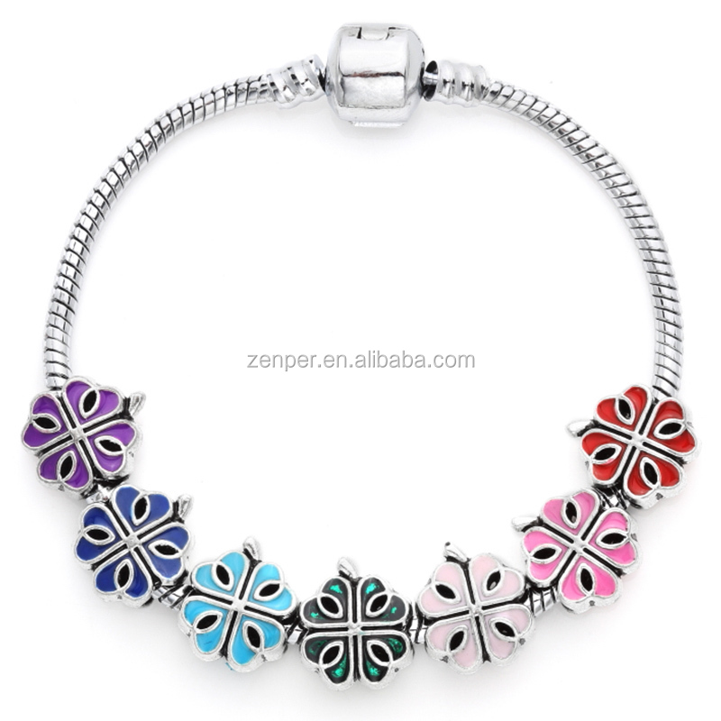 Colorful Four leaf cross silver chain beads christmas bracelet for sale
