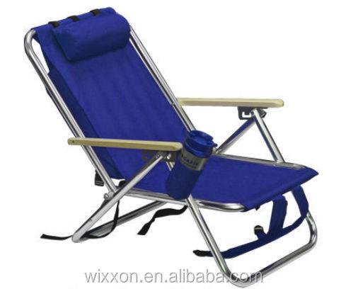 Wooden armrests shoulder straps folding backpack beach - Chaise longue de plage pliante ...