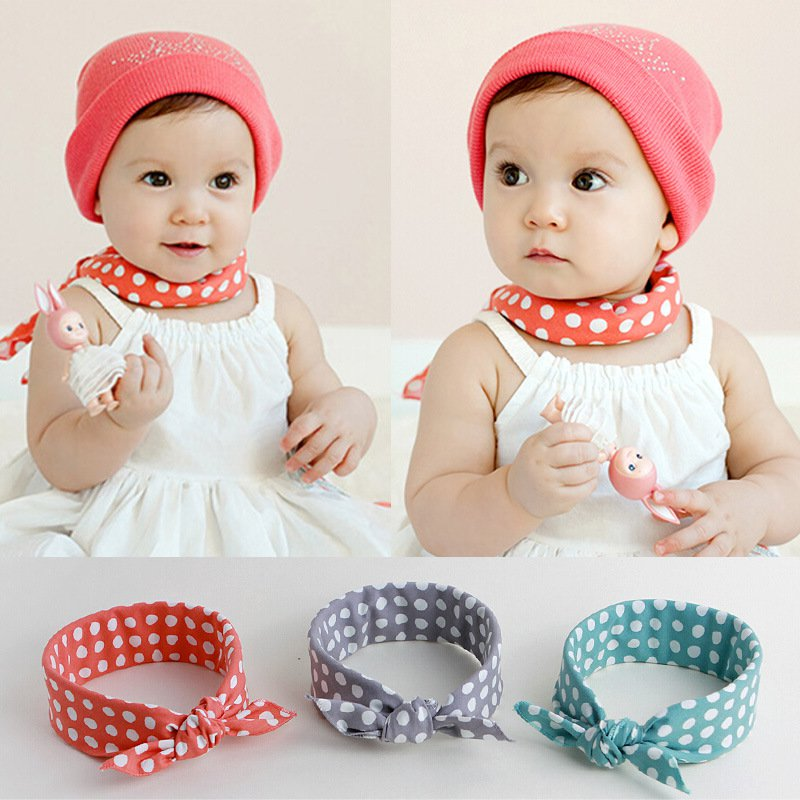 1x Baby Boys Girls Bibs Saliva Towel Polka Dot Cotton Bandana Head Scarf Hot QL
