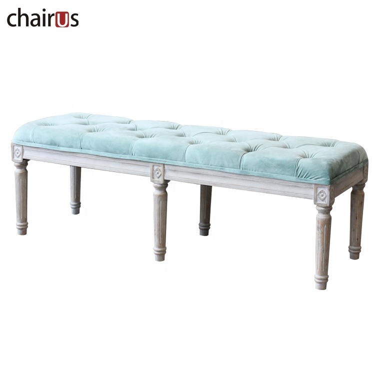Wooden Long Chair Seat Wood Waiting Room Vintage Bed Shoe Solid Living Antique Bedroom Upholstered Bench