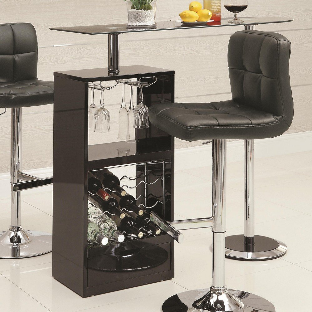 Home bar unit modern style black finish bar unit with black tempered glass top and chrome accents