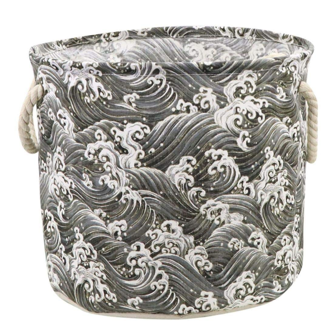 PrettyW Cotton Linen Waterproof Folding Basket Storage Box,Great Capacity Hold Book Clothes Toys Etc. (F)