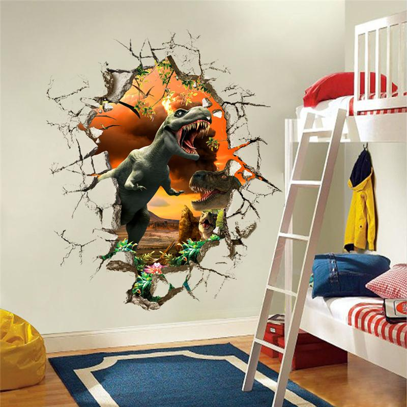 3d dinosaurs wall stickers jurassic park home decoration 1461 diy cartoon living room animals print decals