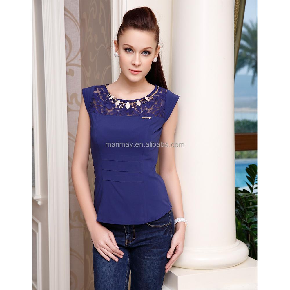 Fashion Smart Casual Blouse Royal Blue Lace Fabric Women Casual