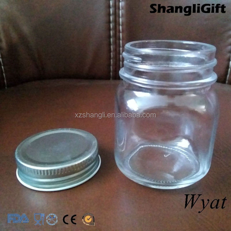 cheap 150ml 5oz square glass jam jars with lids