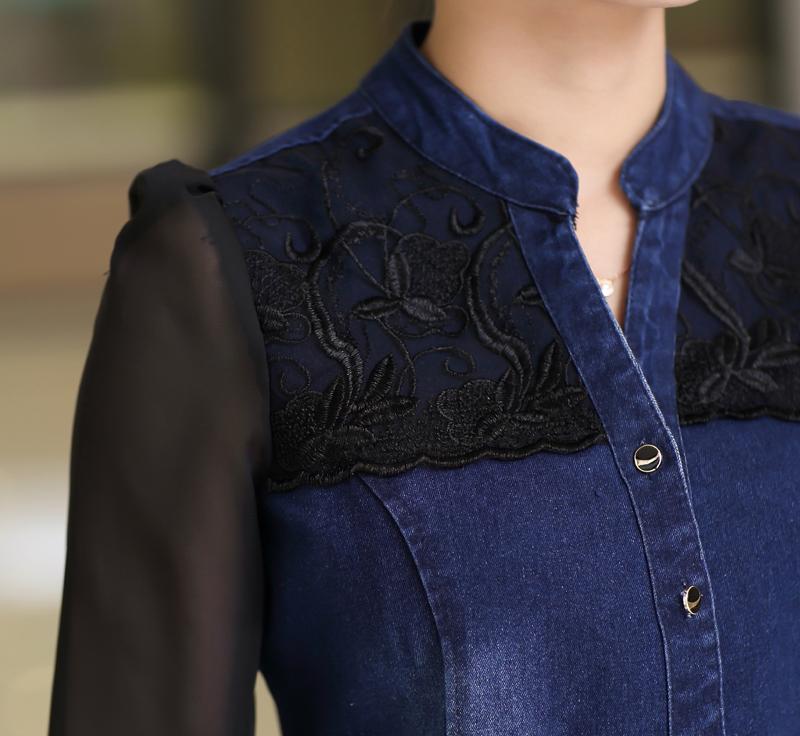 7cd3566d964c9 Womens tops fashion 2015 denim shirt long sleeve v-neck chiffon lace  patchwork jeans shirt camisa jeans feminina free shipping   Nice plus size  clothing ...