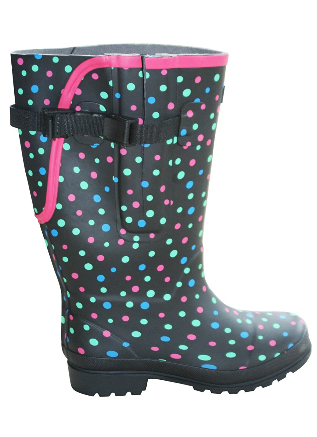 Jileon Extra Wide Calf Rubber Rain Boots with Rear Expansion -Widest Fit Boots in The US - up to 21 inch Calves- Wide in The Foot and Ankle -Durable Boots for All Weathers
