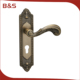 2017 High quality custom external antique european style long door handle with plate