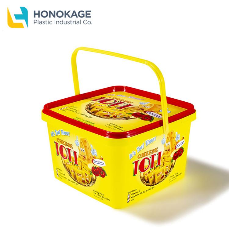 הזרקת מותאם אישית 2.5L כיכר iml מיכל pp ביסקוויט דלי פלסטיק ביסקוויט מכולות אריזת עוגיות