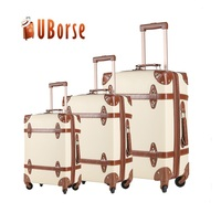 Retro style travel luggage set pu leather pink decorative case vintage suitcase