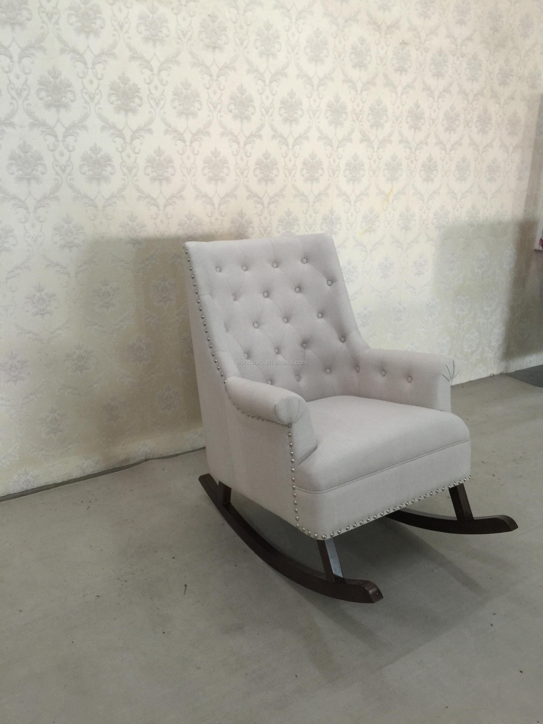 French Style White Fabric Wingback Wooden Glider Chair Upholstered