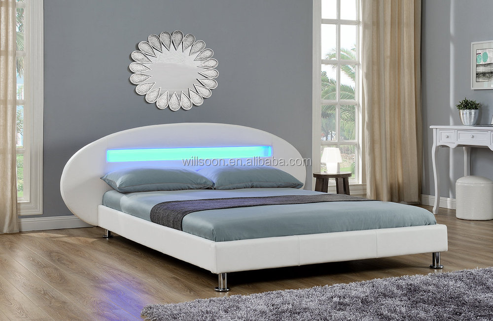 Modern Bed Design Bedroom Furniture Doubleking Size Headboard Led