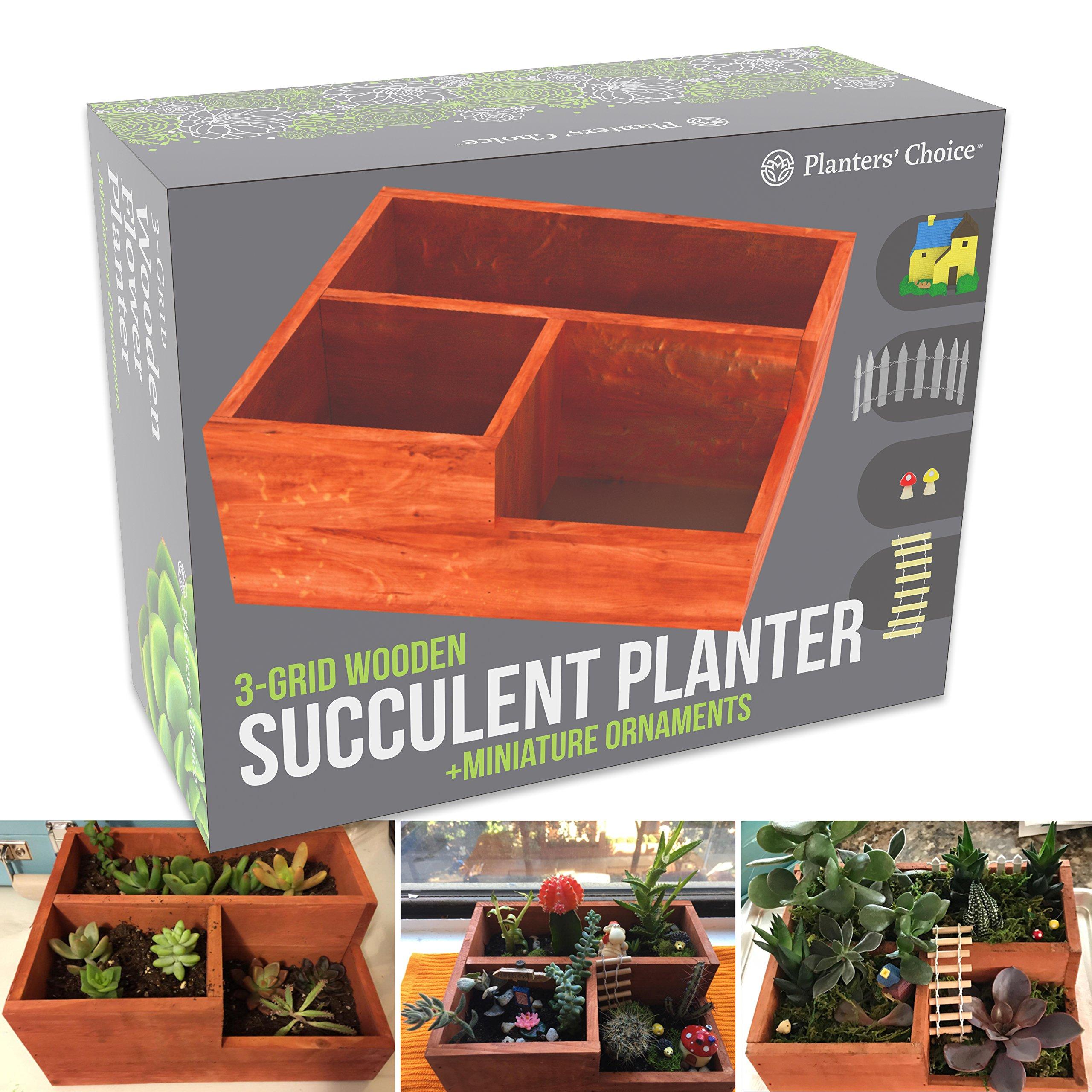 Cheap long wooden planter box find long wooden planter box deals on get quotations 3 grid wooden succulent flower planter box 5 miniature ornaments drainage holes izmirmasajfo