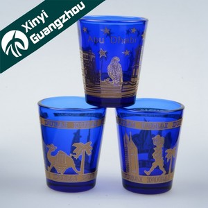 metal color printing shot glass / real gold logo printing glassware