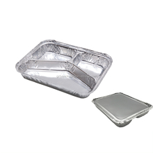 3 Compartiment Wegwerp <span class=keywords><strong>Voedsel</strong></span> Aluminium Containers Folie Trays Met Deksels Voor Fastfood