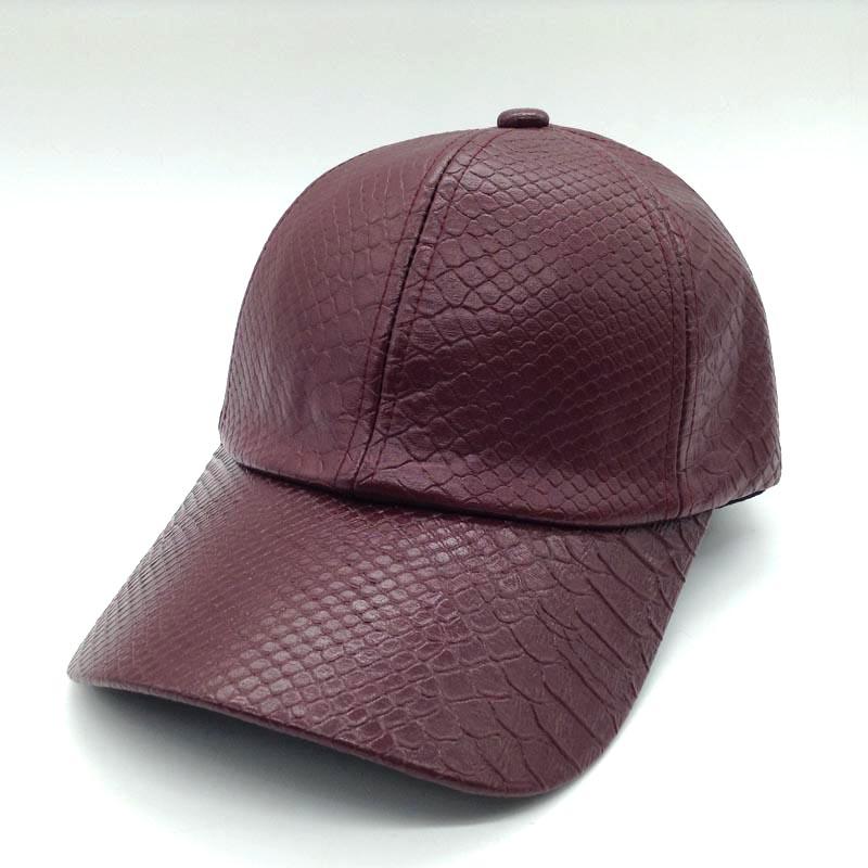 black leather baseball cap wholesale custom plain faux with fur pom