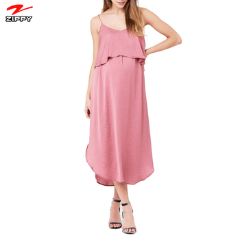 Relaxed fit V-neckline Sleeveless breastfeeding maternity Pull Over Nursing Slip Dress