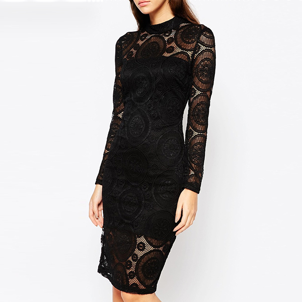fashion black lace dress long sleeve slim fit women dresses