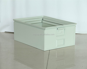 Stackable set of 3 coating steel heavy duty storage bins in cream