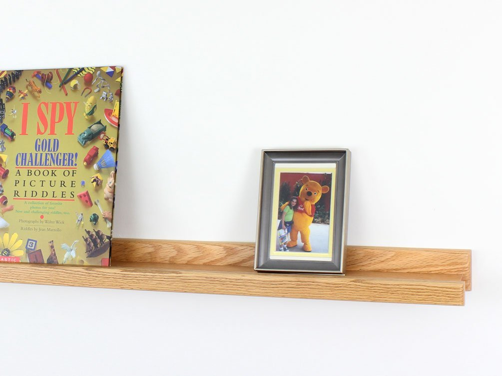 """Picture Ledge, Solid Oak Wooden Wall mounted Photo Frame Shelf, Book Display Ledge 36"""" - Made In The USA (36"""" Long x 3.5"""" Deep-Natural)"""