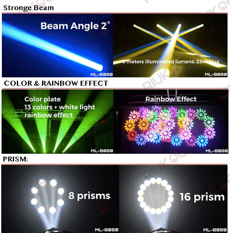 Night club stage lights super beam double prisms led beam 80w moving head light