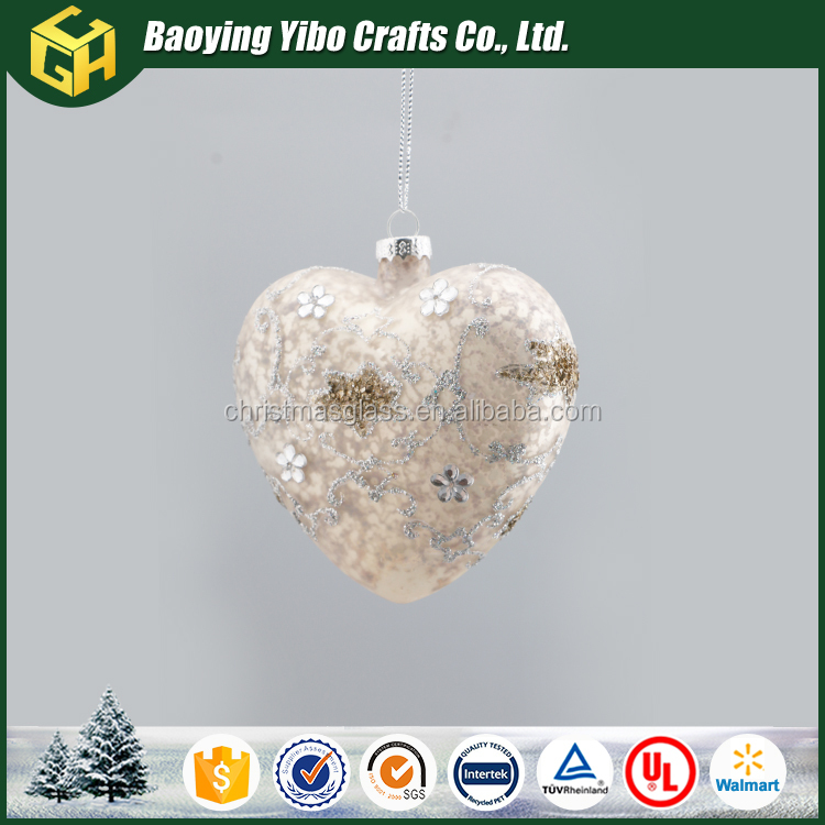 Christmas silver plated glass heart shaped ornamnet hot sell