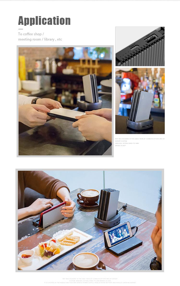 ABS + aluminum public restaurant / coffee shop micro usb type c power bank docking station