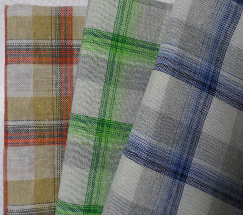 Yarn dyed checked linen fabric ,cotton linen mixed fabric