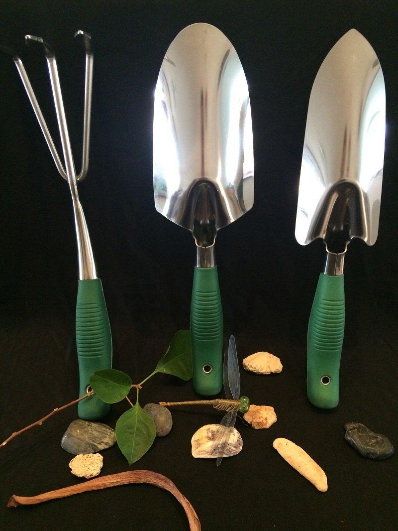 Garden Tools Set - 3 Piece Heavy Duty Gardening Hand Tool Set (Weeder Shovel, Trowel & Rake Cultivator) - Ergonomic, Soft Touch handle & Stainless Steel for Garden Lovers.